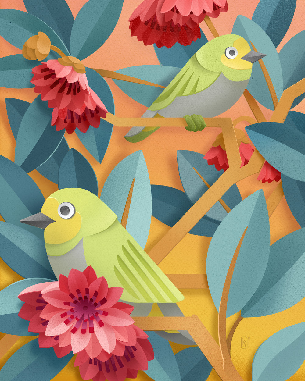 """Red Lotus Tree and Japanese White-Eye"""
