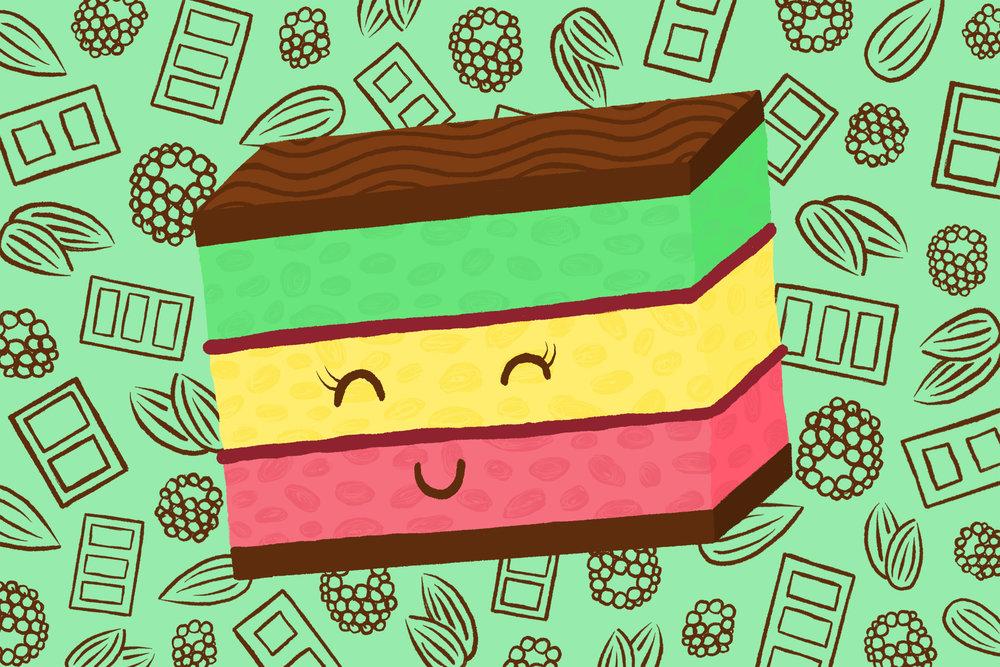 """Rainbow Cookie Cake"""
