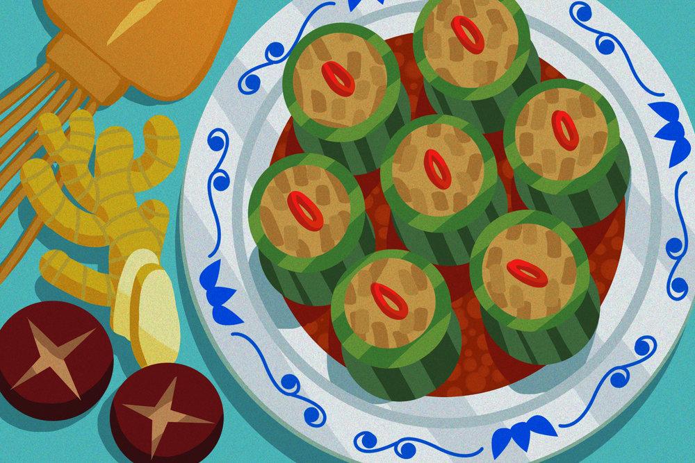 """Stuffed Bitter Melon (酿苦瓜)"""