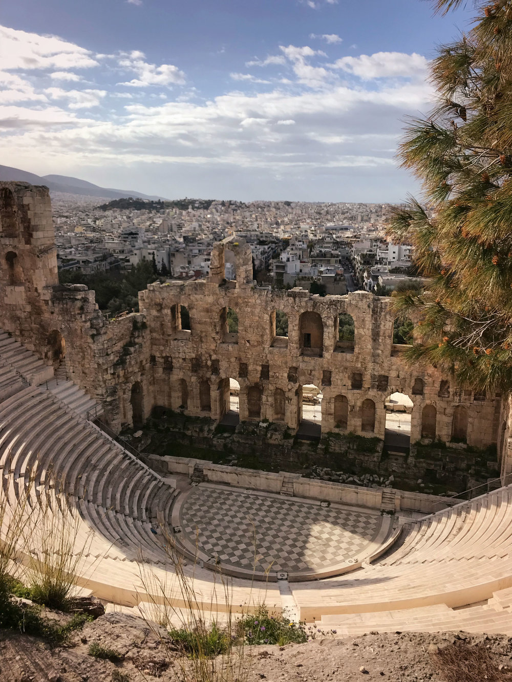 Ruins at the Acropolis overlooking beautiful Athens
