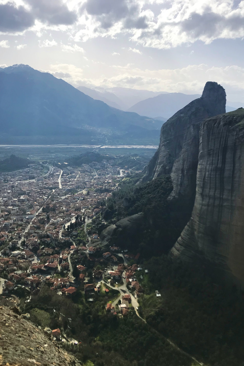 View from the mountain monasteries at Meteora