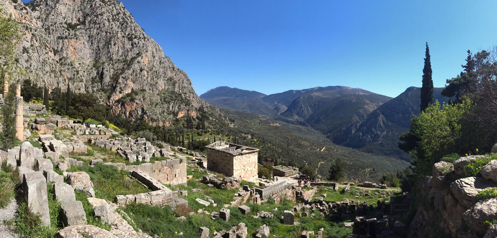 The majestic ruins at the sacred site of Delphi