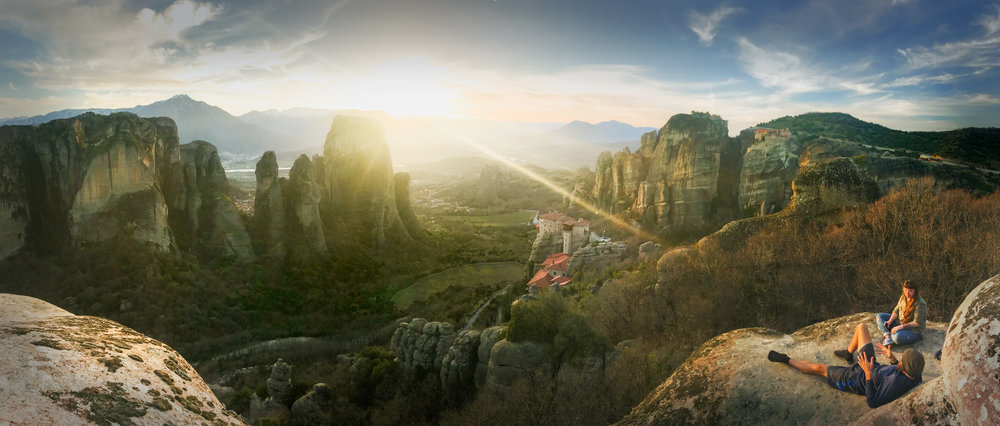 View from the cliffsides of Meteora, where you can see the ancient monasteries resting on the peaks. Photo credit: ©Lindsay Nohl