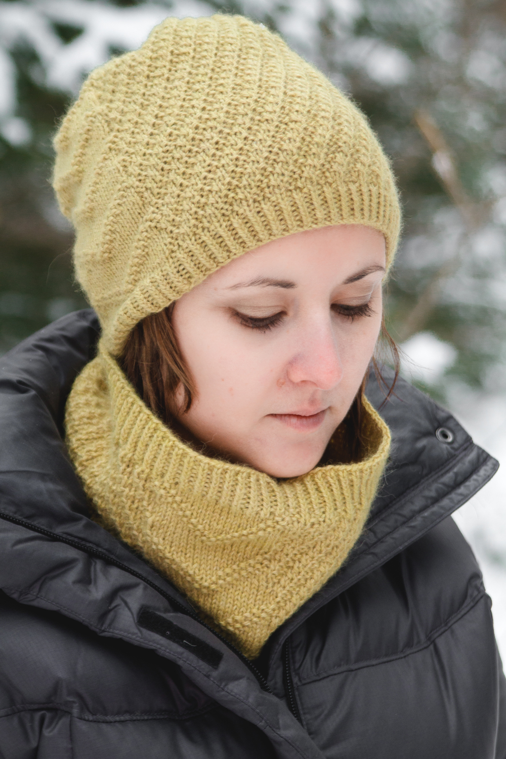 Calm Chaos Cowl, in Road to China Light, Citrine colorway