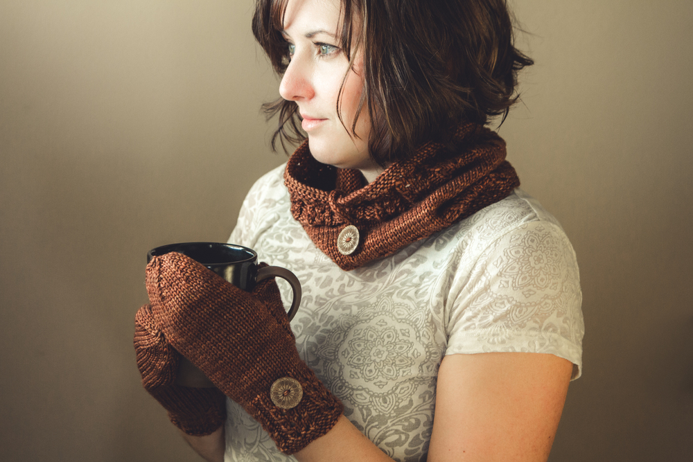 Clary Cowl and Clary Mitts, shown in Luna Grey Fiber Arts Calypso, Cinnamon colorway