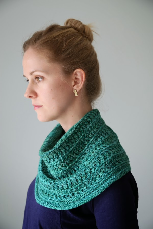 "Luna Viridi Cowl, by Hilary Smith Callis, in ""Viridian"" colorway, kits available from Luna Grey"