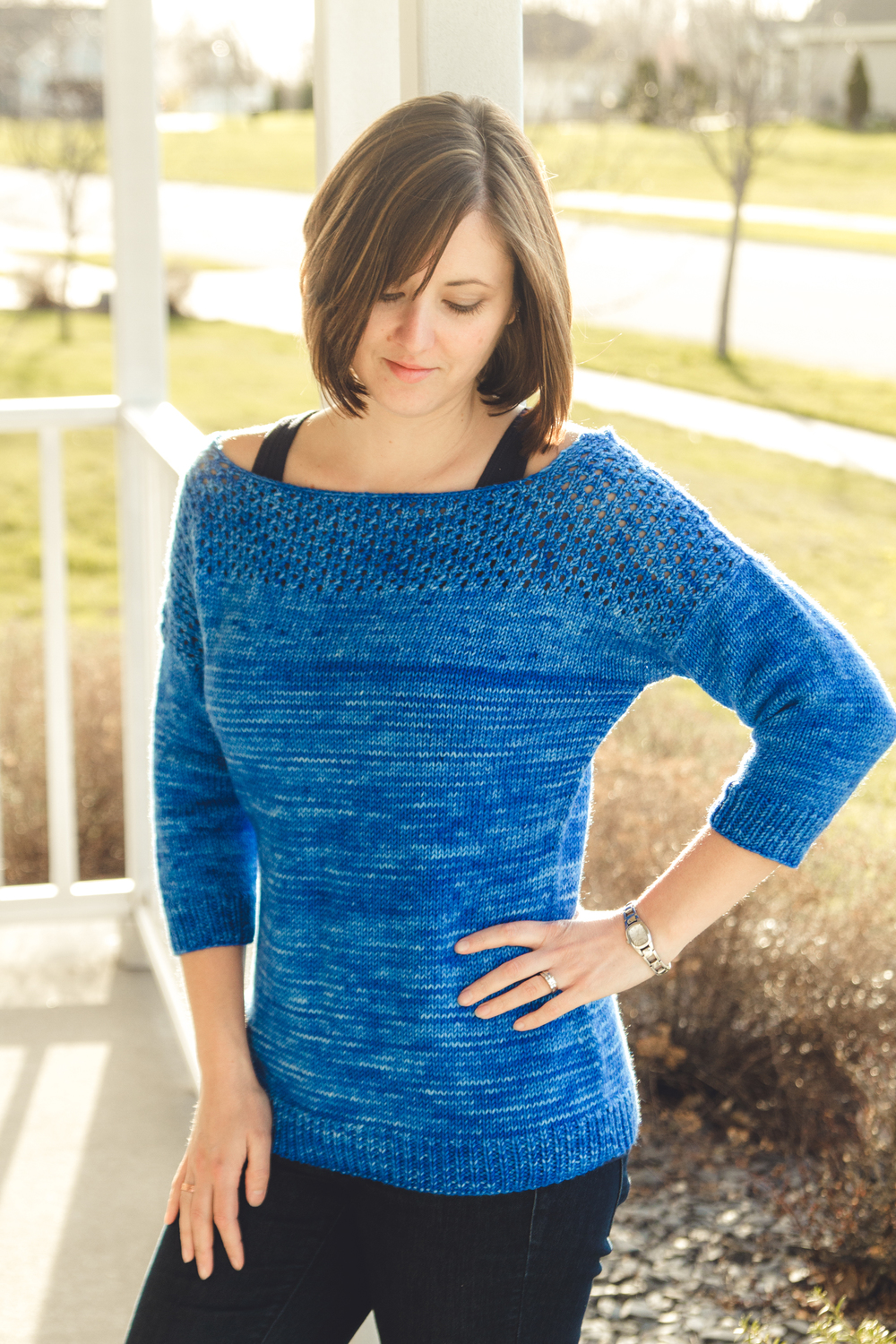Salted, by Alicia Plummer, in Front Porch Fibers DK MCN, colorway Saphire Blue