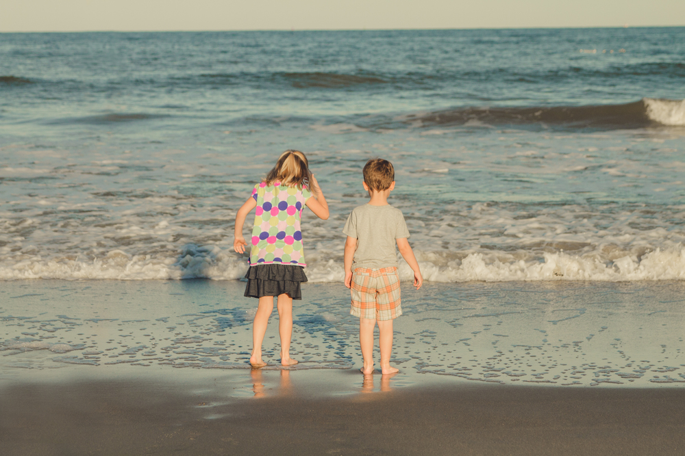 Finally getting their toes in the salt water!