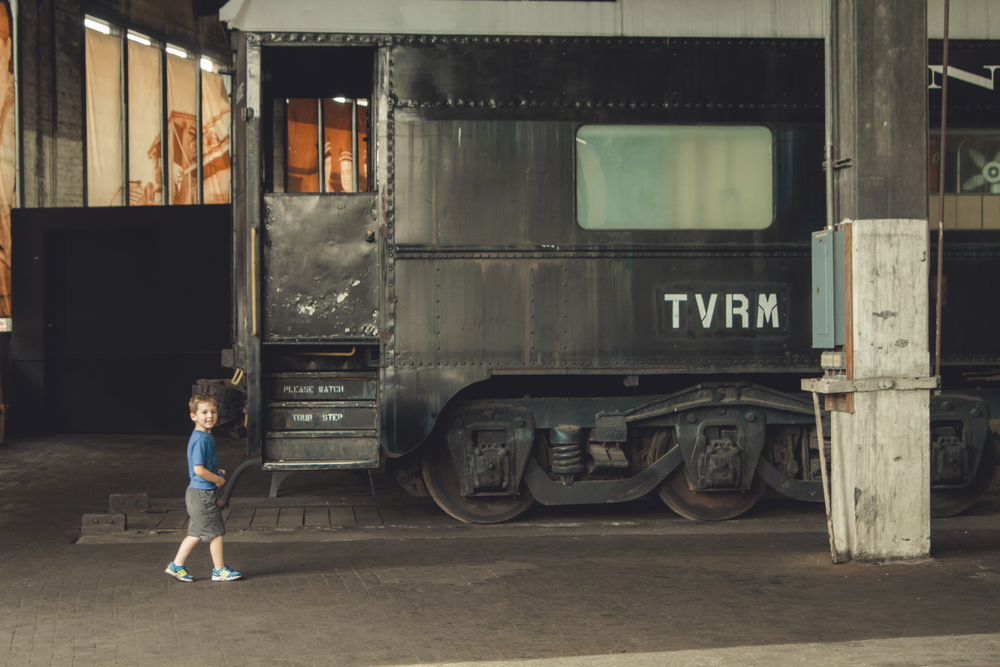 This kid was over-the-moon excited about the Railroad Museum.