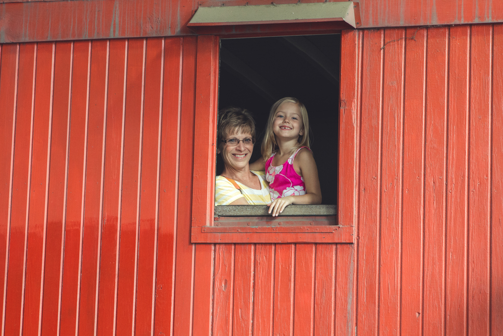 Addie and Grammy, bringing up the caboose.
