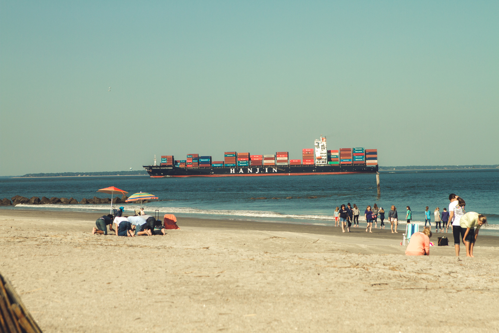 One last trip to the beach. The kids loved seeing the big ships carrying all the cargo into the port.