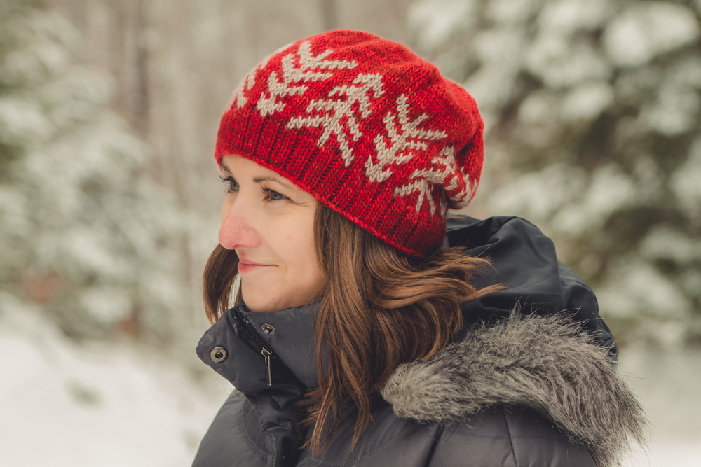 Lodgepole Hat, size medium, shown in Madelinetosh Tosh Merino, in Robin Red Breast and Antique Lace
