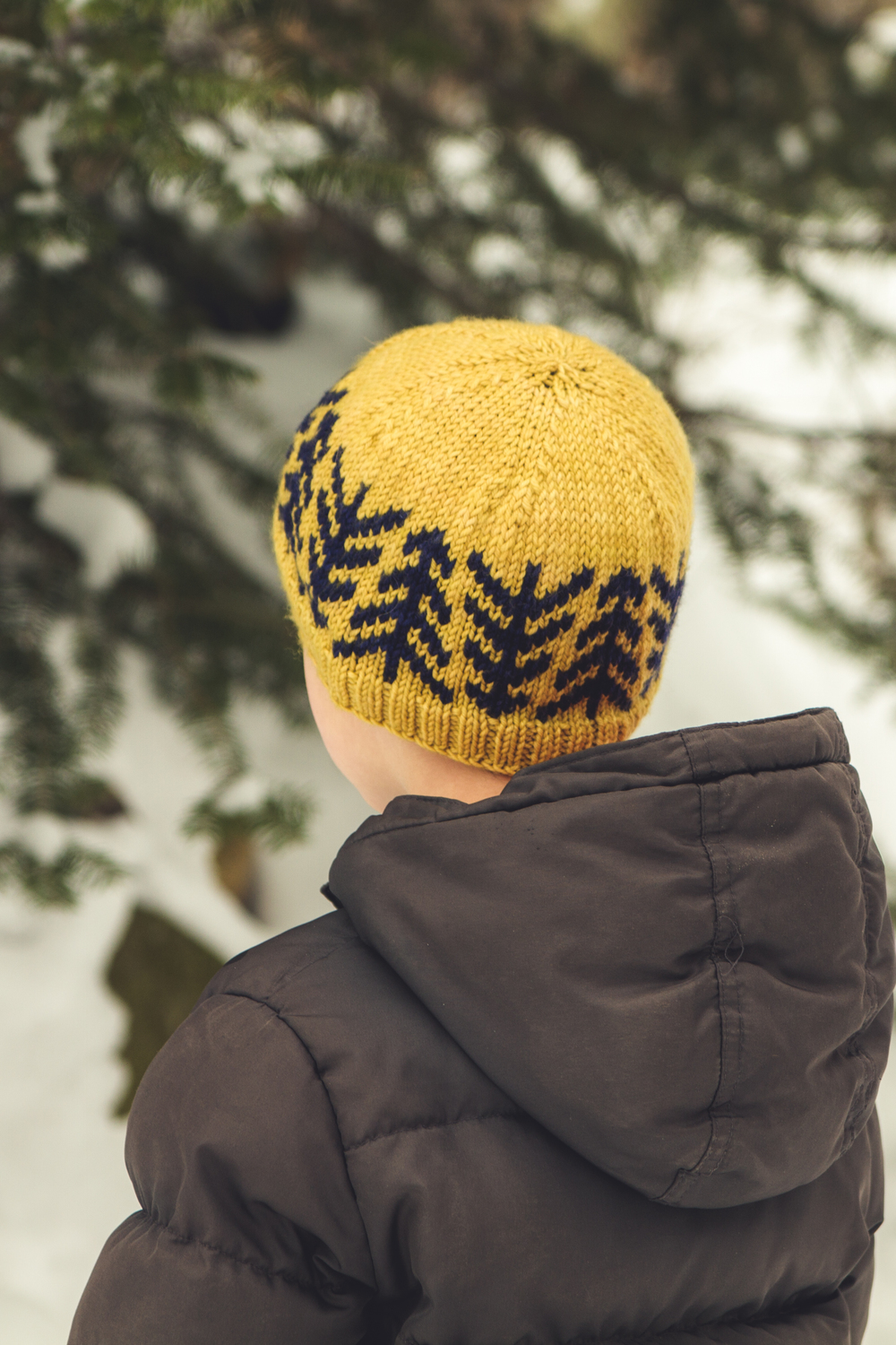 Lodgepole Hat, child's size, shown in Luna Grey Fiber Arts Calypso, in Honeycomb and Nautical Blue