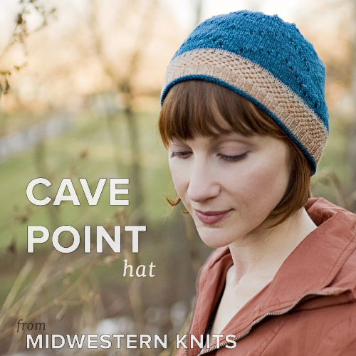 Sneak peek at the Cave Point hat, our contribution to Midwestern Knits, hitting the shelves mid-August!   A kit will be given away as a prize for the summer KAL!