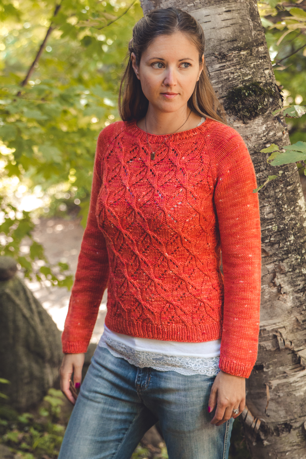 Dragonflies Jumper, by Joji Locatelli, in Front Porch Fibers DK MCN, coral