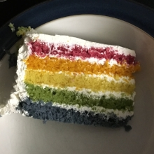 Coles finest rainbow cake... sickly sweet... they loved it