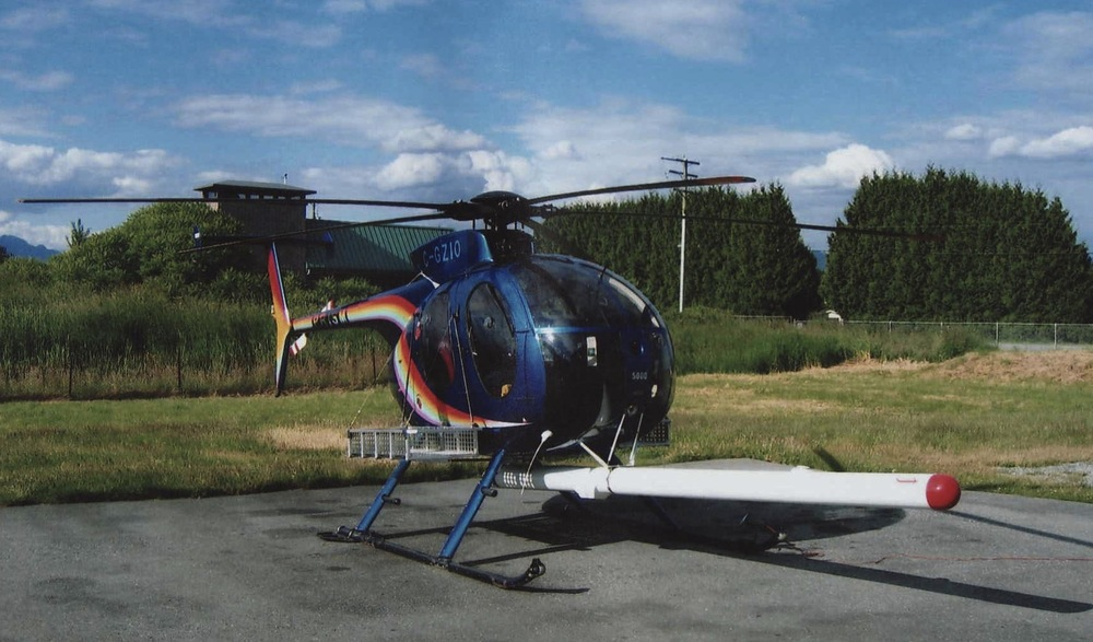 Helicopter magnetometer boom.