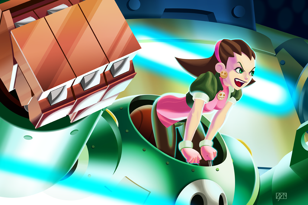 Tron Bonne in battle with her mech Gustaff. Marlwolf, piloted by her brother Teisel is in the background. (click image to enlarge)