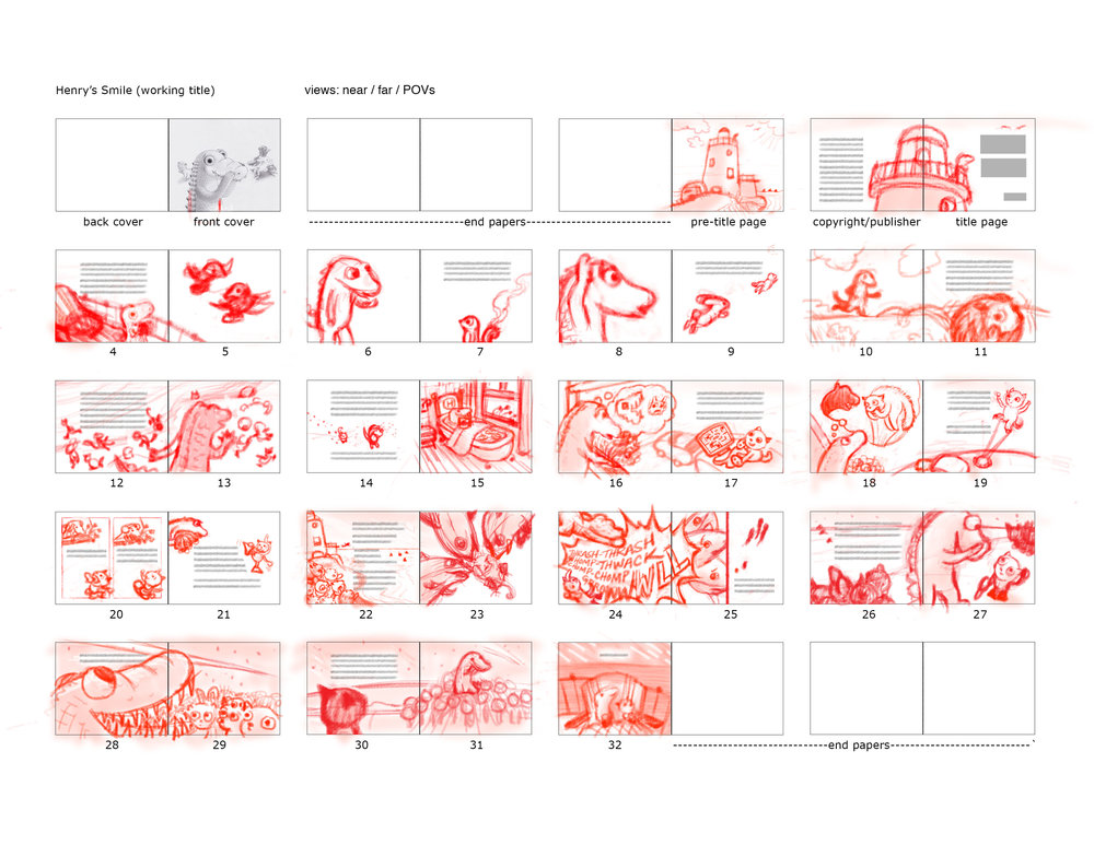 Rough thumbnail sketches for book dummy