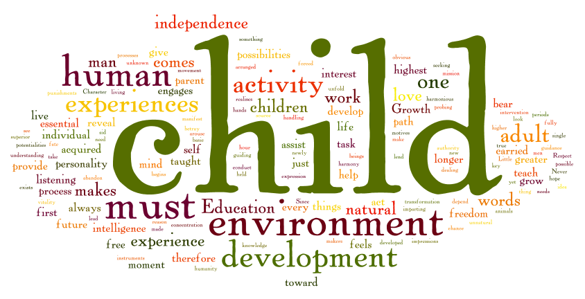 This word cloud is a graphical representation of the frequency of words used in quotations from Dr. Maria Montessori's books. It vividly illustrates the focus of Dr Montessori's teachings and a Montessori based education.