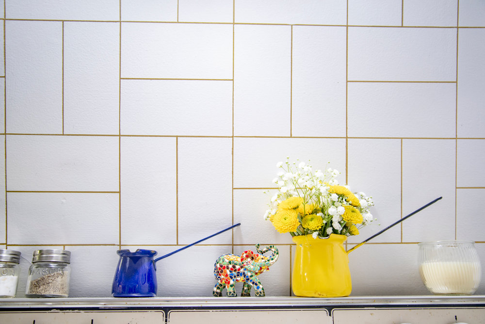 DIY backsplash pattern for rental kitchen
