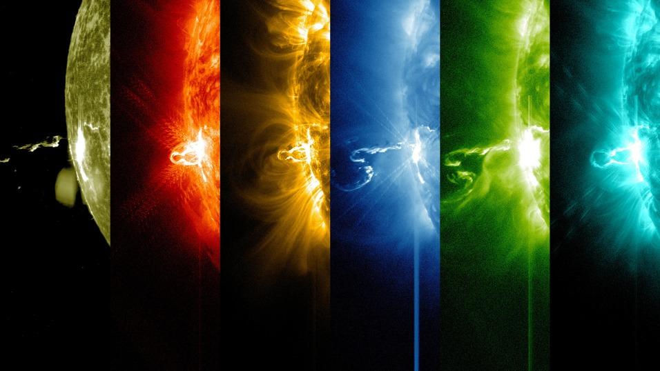 Ta sama flara słoneczna sfotografowana przy różnych długościach fali. Foto: NASA/SDO