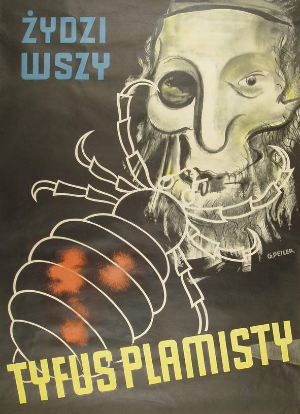 Plakat za pomocą którego naziści podjudzali polskie społeczeństwo przeciwko żydowskiej mniejszości.