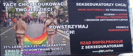 """Plakat obrońców życia i rodziny ukazujący """"prawdę""""o gejach i zagrożeniu, jakie stanowią dla dzieci."""