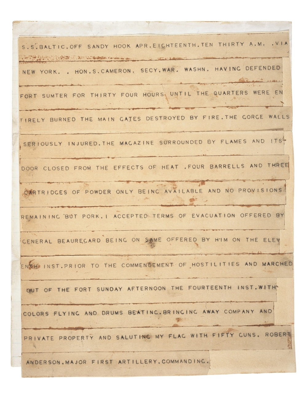 The Telegram That Broke News of the Civil War