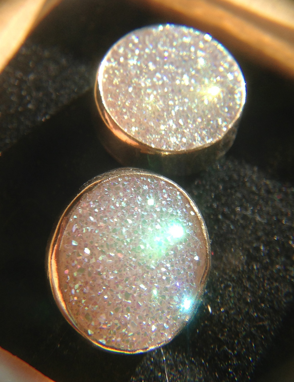 Rainbow Druzy with 14K Gold Studs
