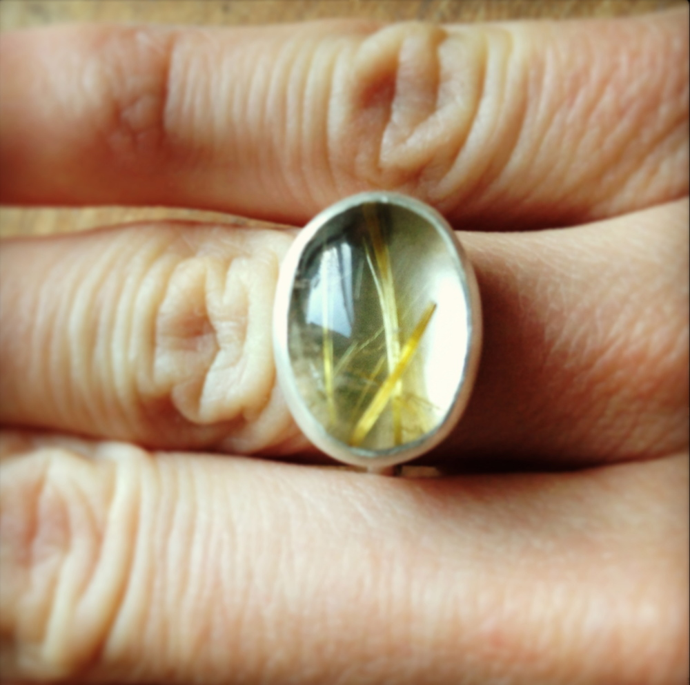 Golden Rutilated Quartz Ring.