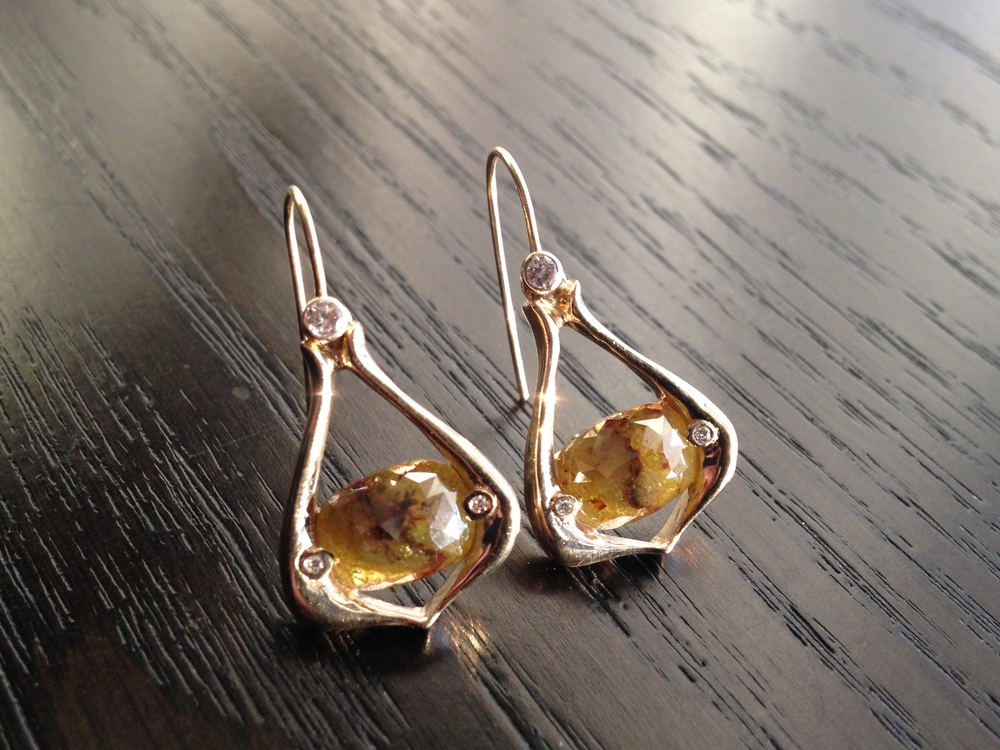 Custom Rustic Diamond Earrings