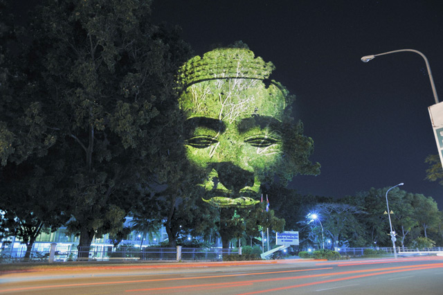 Digital projection work by Clement Briend entitled Cambodian Trees