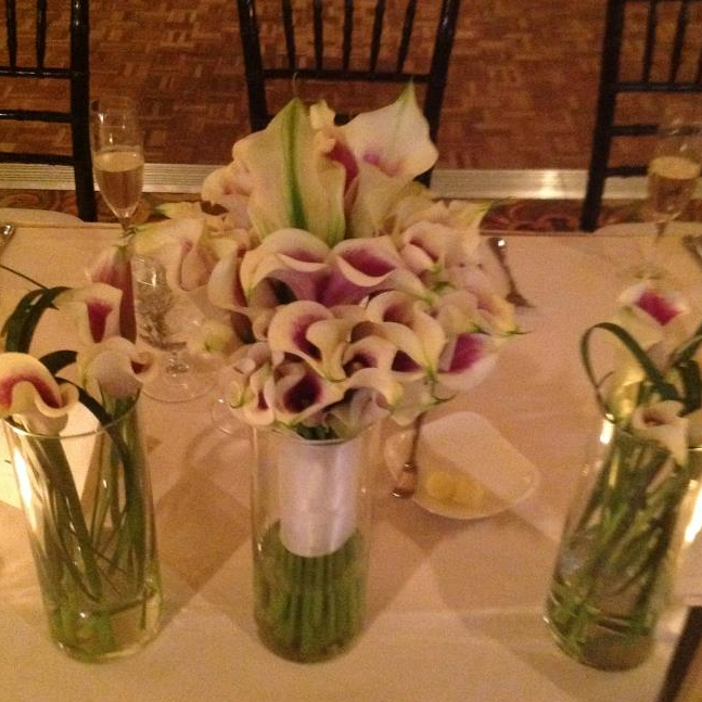 Picasso Calla Lillies add a touch of purple.