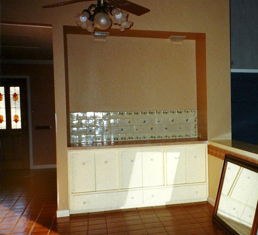 original cabinet area