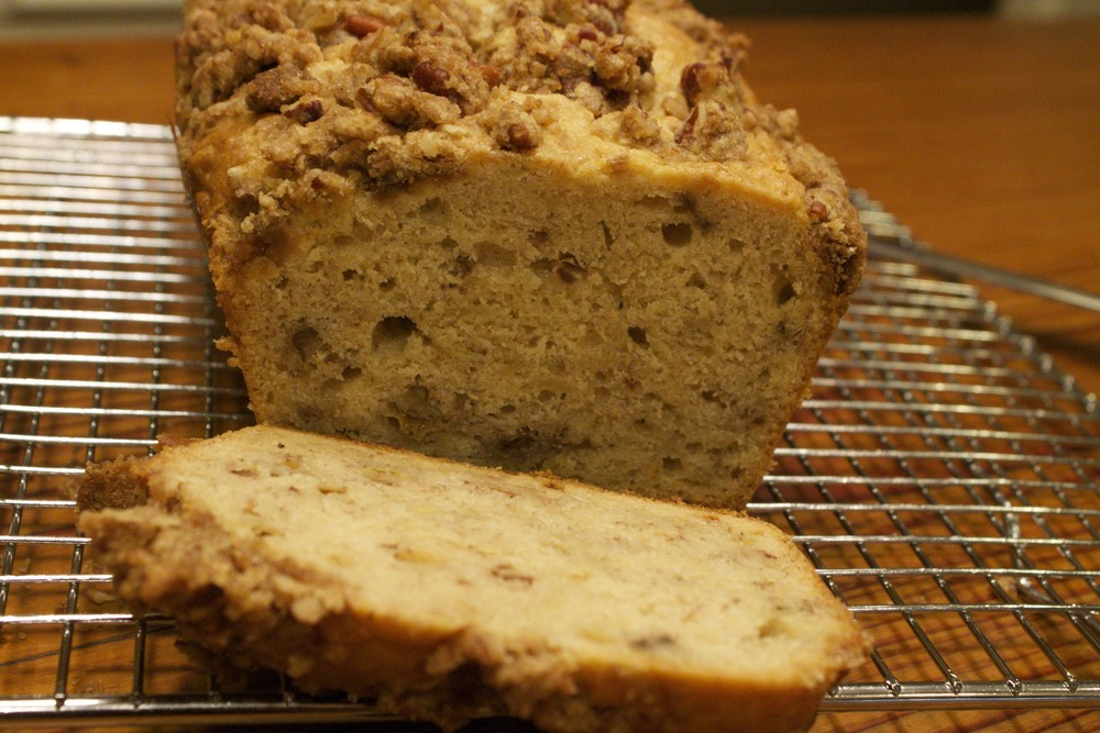 cream cheese banana nut bread with pecan crunch topping