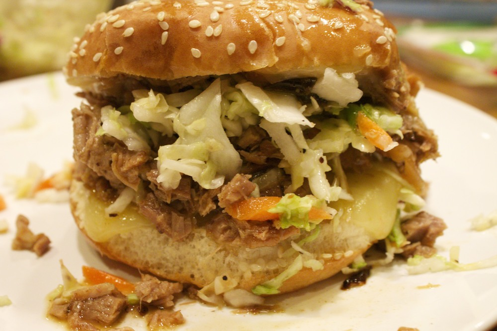 chipotle pulled pork sandwich with cole slaw