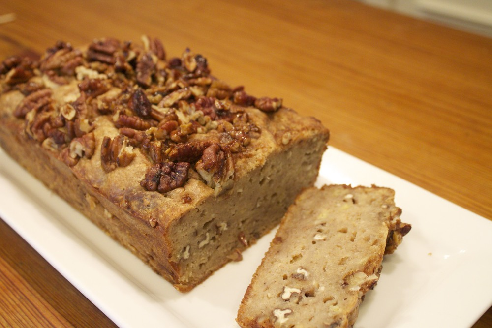 bourbon banana bread with bourbon glazed pecans