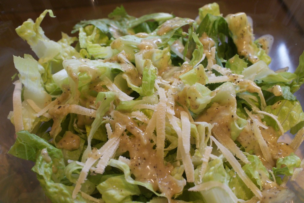 caesar salad with spicy fried chicken