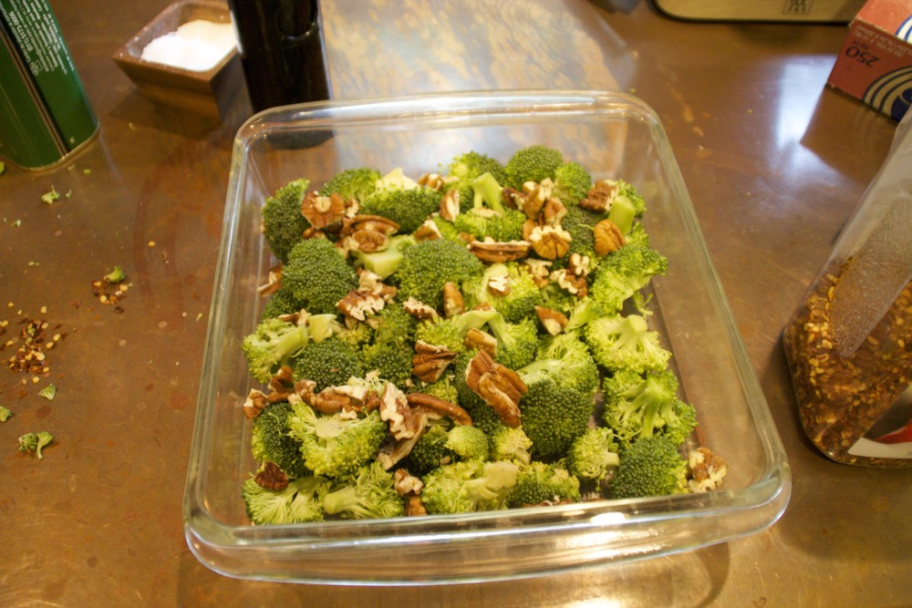 roasted broccoli with pecans