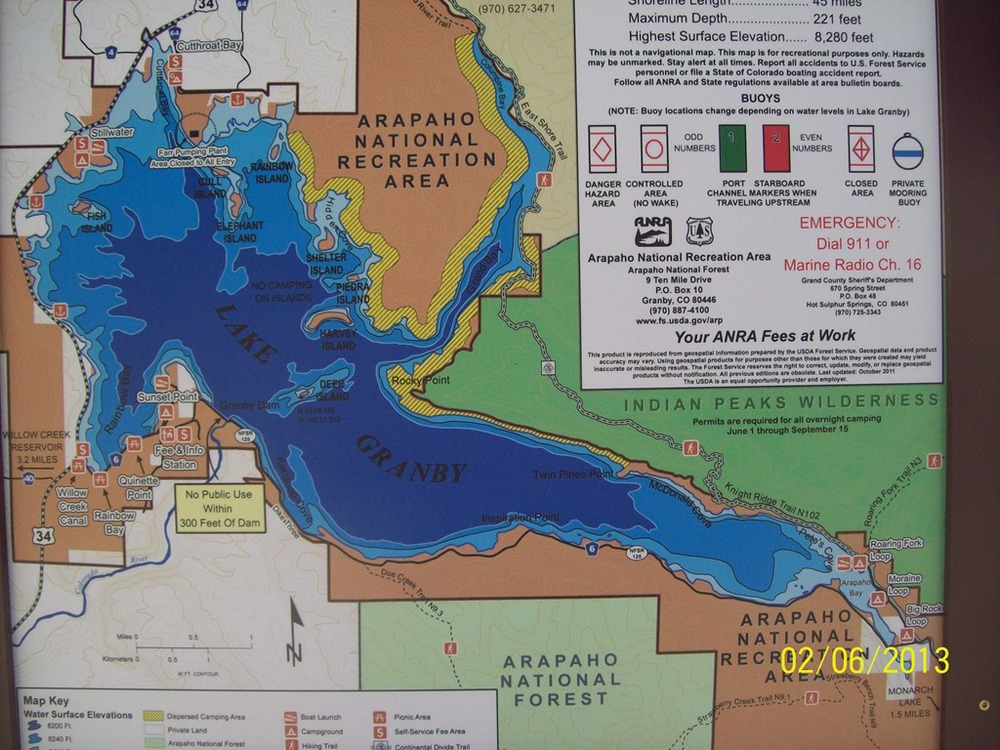 American land leisure arapaho bay on lake granby co for Colorado fishing map