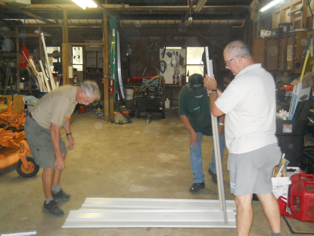 Bob, Gary and Bill working in our spacious shop - photo by Mike Marchant