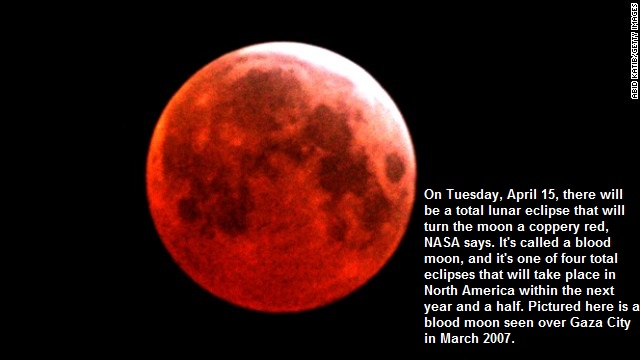 Blood moon seen over Gaza City in March 2007.  Click on photo to see the CNN article.