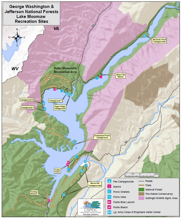 Bolar Mountain - Lake Moomaw map