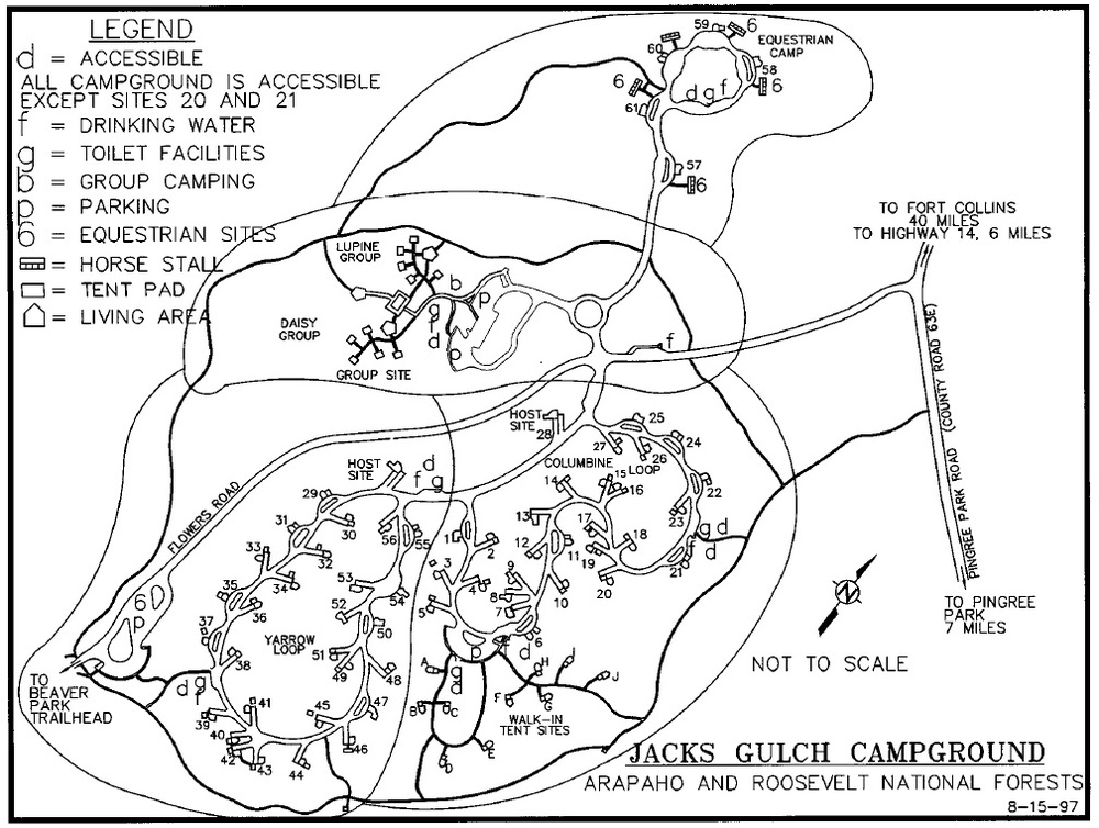 Jack's Gulch Campground map