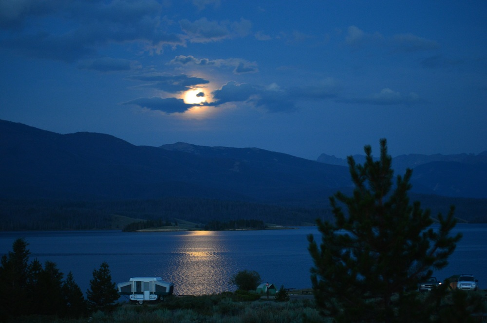 Moon over Lake Granby