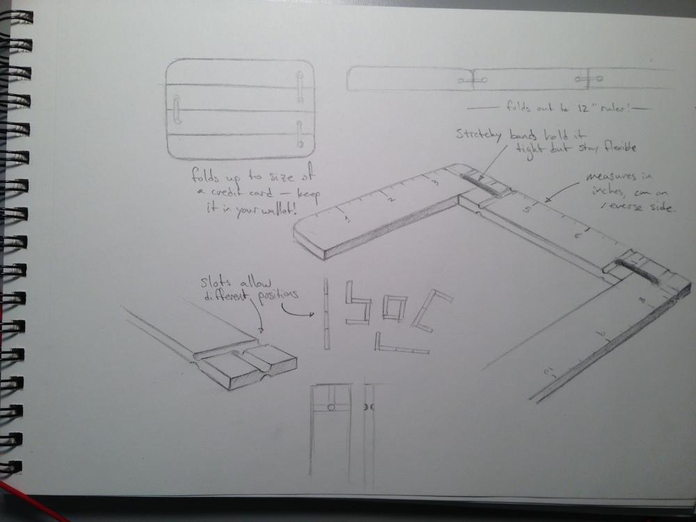 The original sketch for the pocket ruler