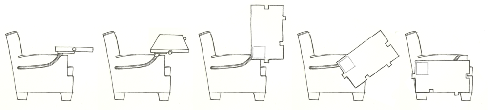 Illustration of the process of stowing the chair's table
