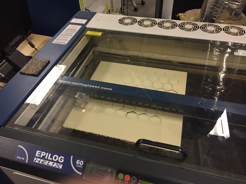 Laser cutting the honeycomb