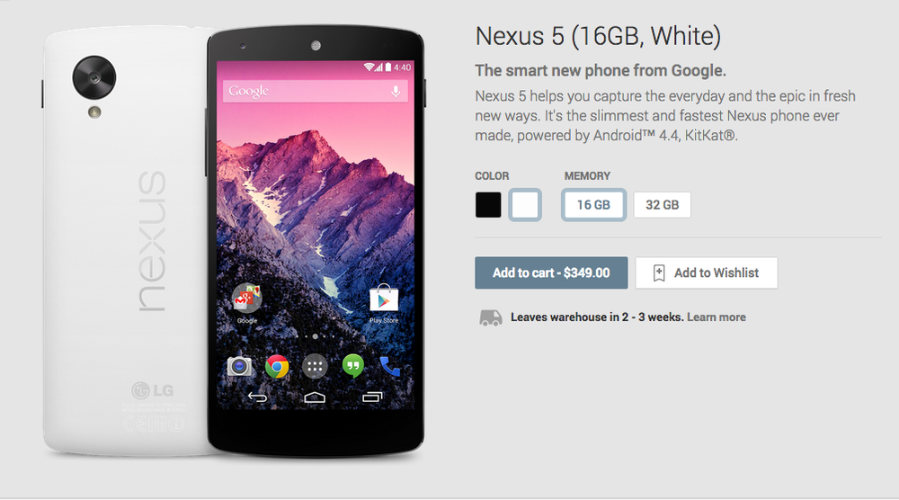 Nexus 5 pricing - 16GB